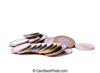 Isolated image of Turkish coins, Turkish Liras (TL)