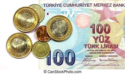 Turkish Money - Camera pans over Turkish coins to Ataturk...