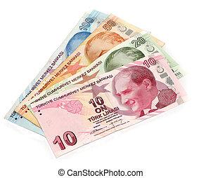 Turkish money on white background