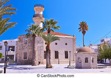 Turkish mosque and old fontain at old town Ierapetra in Crete, Greece.