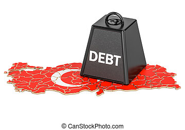 Turkish national debt or budget deficit, financial crisis concept, 3D rendering