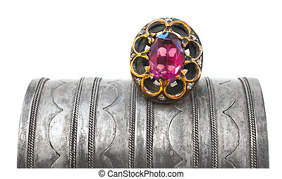 Turkish Ottoman ring and antique bracelet