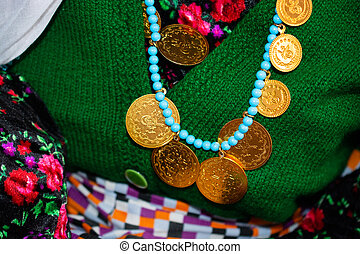 Turkish Ottoman style gold coins on a string