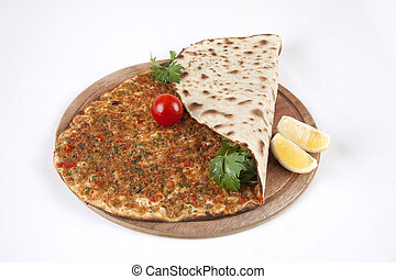 Turkish pizza - Lahmacun. Turkish food.