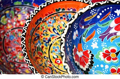Traditional turkish pottery with flower pattern