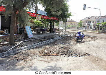 Turkish roadworks - Repairing the roads and pavements, ...