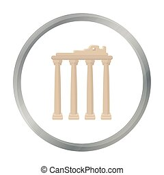 Turkish ruins icon in cartoon style isolated on white background. Turkey symbol stock vector illustration.