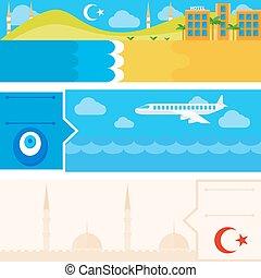 Turkish set of horizontal flat banners