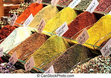 Turkish spices. Spice Bazaar in Istanbul