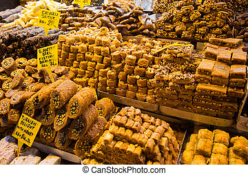 Turkish Sweets in Spice Bazaar, Istanbul City