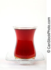 Turkish Tea - Clean glass of turkish tea on white background