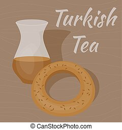 Turkish Tea Cup with traditional bagel