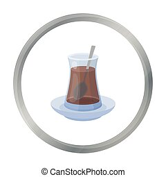 Turkish tea icon in cartoon style isolated on white background. Turkey symbol stock vector illustration.