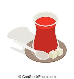Turkish tea icon, isometric 3d style