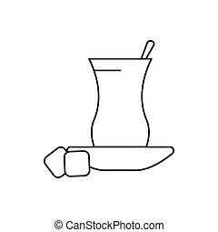 Turkish tea icon, outline style