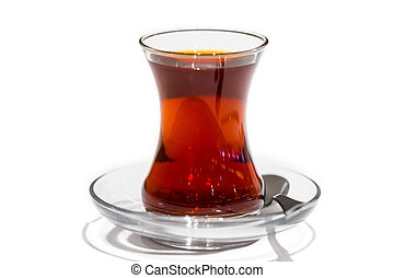 Turkish tea isolated on white background. Hotel restaurant breakfast.