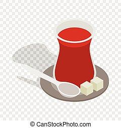 Turkish tea isometric icon