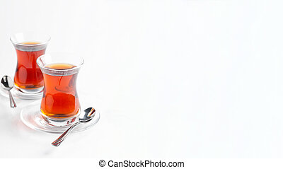 Turkish tea on a white background. Turkish traditional cuisine