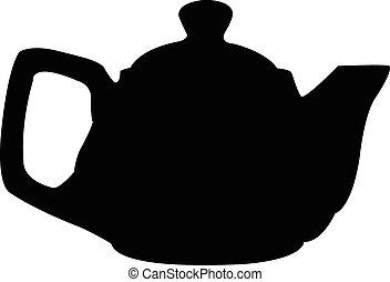 Turkish tea pot silhouette vector