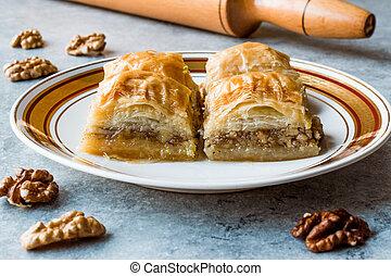 Turkish Traditional Dessert Baklava with Walnuts.