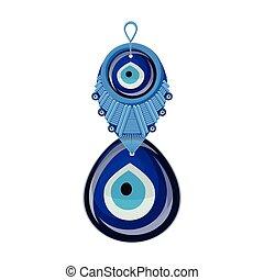 Turkish traditional glass amulet boncuk, evil eye, isolated.
