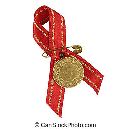 Turkish traditional gold coin with red ribbon Quarter gold