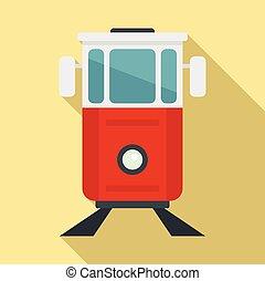 Turkish tramway icon, flat style - Turkish tramway icon. ...