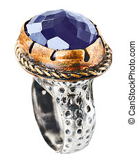 Turkish vintage style Ottoman ring with amethyst