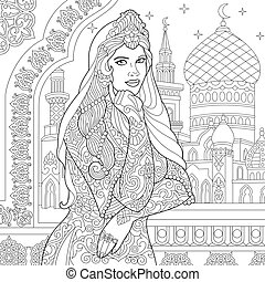 Turkish woman and arabic mosque - Coloring page of turkish...