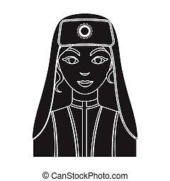 Turkish woman icon in black style isolated on white background. Turkey symbol stock vector illustration.
