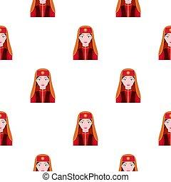 Turkish woman icon in cartoon style isolated on white background. Turkey pattern stock vector illustration.