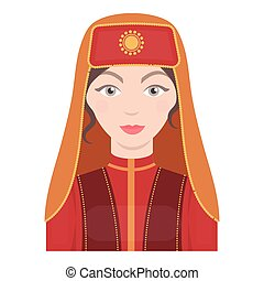 Turkish woman icon in cartoon style isolated on white background. Turkey symbol stock vector illustration.