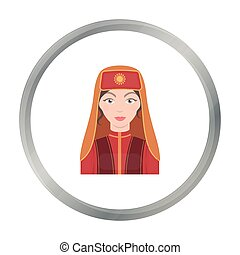 Turkish woman icon in cartoon style isolated on white background. Turkey symbol stock vector illustration.