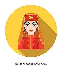 Turkish woman icon in flat style isolated on white background. Turkey symbol stock vector illustration.