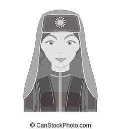 Turkish woman icon in monochrome style isolated on white background. Turkey symbol stock vector illustration.