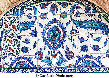 turkisk, keramik tegelpanna, istanbul
