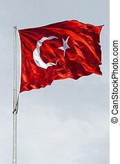 turkisk, national flagg, in, synhåll