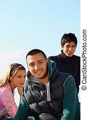 turkisk, ung man, med, friends.