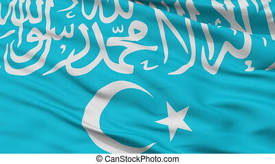 Turkistan Islamic Party Flag Closeup Seamless Loop -...