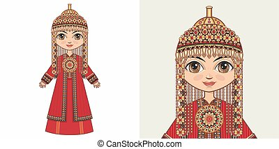 Turkmen girl in national costume