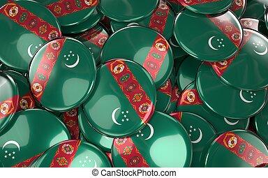 Turkmenistan Badges Background - Pile of turkmen Flag Buttons.