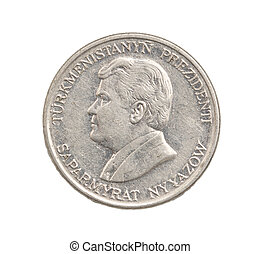 Turkmenistan coin on a white background