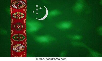 Turkmenistan dense flag fabric wavers, background loop - ...