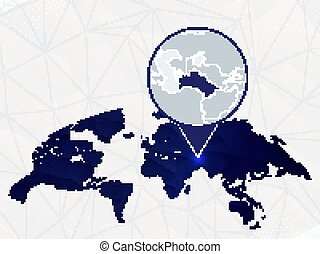Turkmenistan detailed map highlighted on blue rounded World Map.