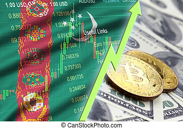 Turkmenistan flag and cryptocurrency growing trend with two bitcoins on dollar bills