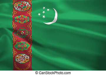 Turkmenistan flag blowing in the wind