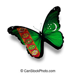 Turkmenistan flag butterfly, isolated on white