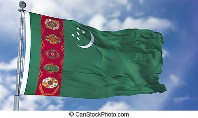 Turkmenistan Flag in a Blue Sky