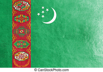 Turkmenistan Flag painted on leather texture