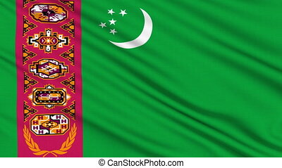 Turkmenistan Flag, with real structure of a fabric